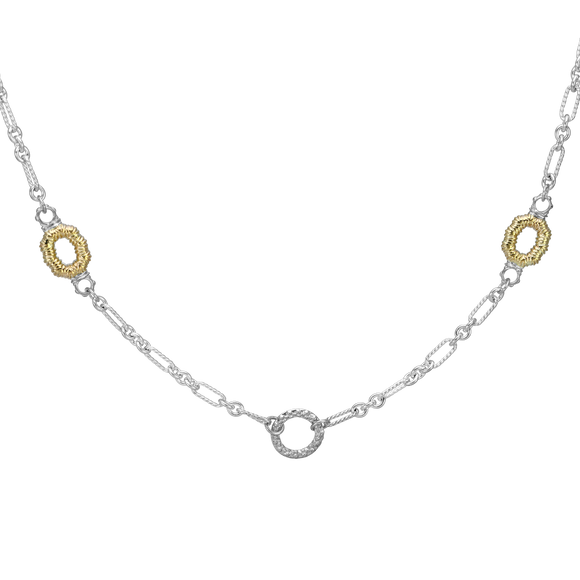 Buy Vahan Necklace |  14K Yellow Gold & Sterling Silver Textured Link Design | Shop VAHAN only at Avonlea Jewelry.