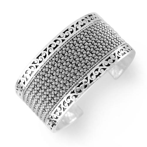 Sterling Silver Textile Weave Cuff Bangle Bracelet with Cutout Borders features a band of textile weave with a handcarved scroll border (Lois Hill 2019)