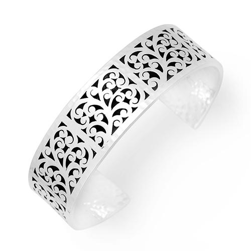 Sterling Silver Small Cutout & Hammered Scroll Cuff (Lois Hill 2019)