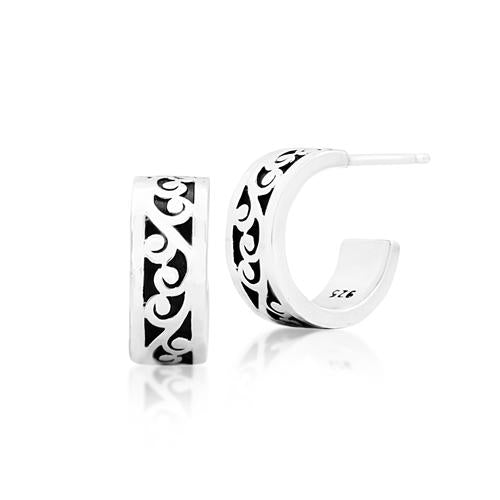 Sterling Silver Small Carved Scroll Classic Hoop Earrings (Lois Hill 2019)