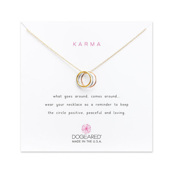 DOGEARED | TRIPLE KARMA RING NECKLACE | MIXED METAL