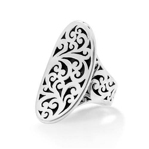 Sterling Silver Cutout Scroll Saddle Ring