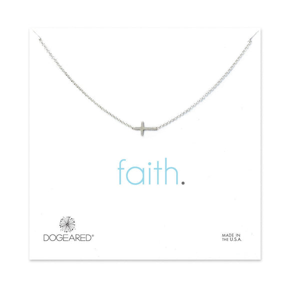 Buy DOGEARED | FAITH | SMALL SIDEWAYS CROSS CHARM NECKLACE | STERLING SILVER | Shop DOGEARED only at Avonlea Jewelry.