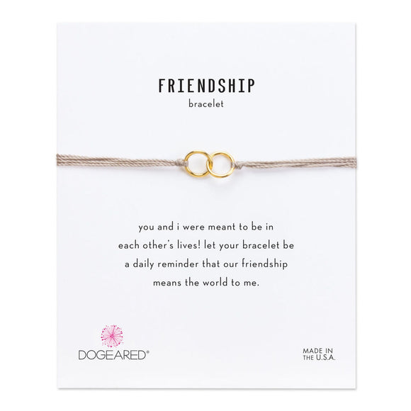 Buy DOGEARED | DOUBLE-LINKED RINGS FRIENDSHIP BRACELET | TAUPE SILK + STERLING SILVER & 14K GP | Shop DOGEARED only at Avonlea Jewelry.