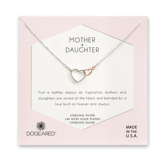 Buy DOGEARED | MOTHER + DAUGHTER LINKED HEARTS NECKLACE | STERLING SILVER & ROSE GOLD | Shop DOGEARED only at Avonlea Jewelry.