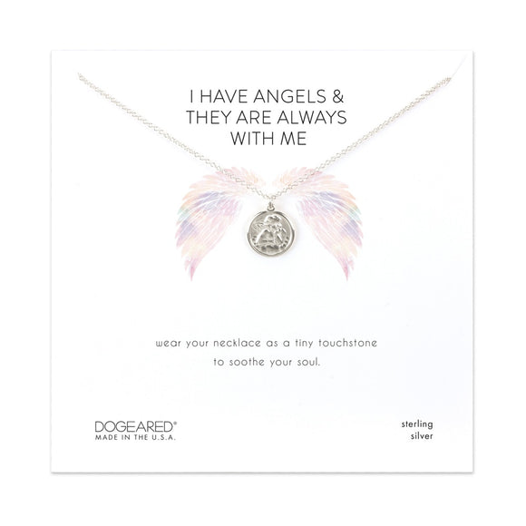 Buy DOGEARED | I HAVE ANGELS | MINI ANGEL COIN NECKLACE | STERLING SILVER & 14K GP | Shop DOGEARED only at Avonlea Jewelry.