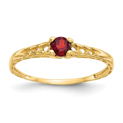 14K Madi K ~ January / Garnet Baby Ring ~ Polished Yellow Gold