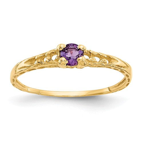 14K Madi K ~ February / Amethyst Baby Ring ~ Polished Yellow Gold