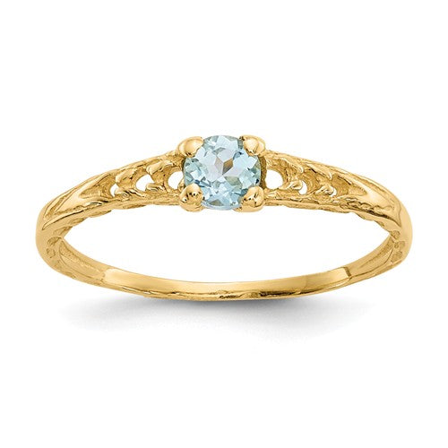 14K Madi K ~ March / Aquamarine Baby Ring ~ Polished Yellow Gold