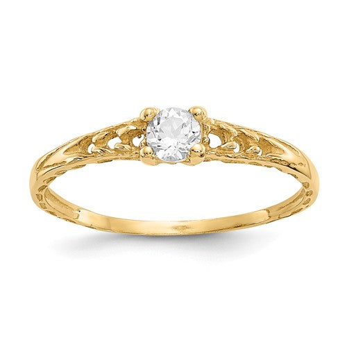 14K Madi K ~ April / White Topaz Baby Ring ~ Polished Yellow Gold