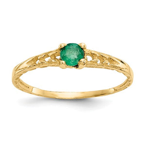 14K Madi K ~ May / Emerald Baby Ring ~ Polished Yellow Gold