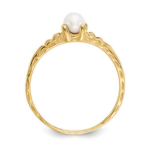 14K Madi K ~ June / Freshwater Pearl Baby Ring ~ Polished Yellow Gold