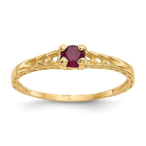 14K Madi K ~ July / Ruby Baby Ring ~ Polished Yellow Gold