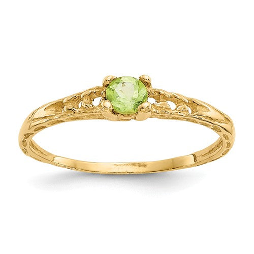 14K Madi K ~ August / Peridot Baby Ring ~ Polished Yellow Gold