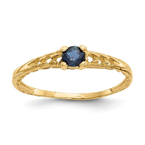 14K Madi K ~ September / Sapphire Baby Ring ~ Polished Yellow Gold