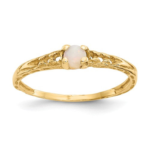 Baby Jewelry | October / Opal | Baby Ring | 14K Yellow Gold | Madi K