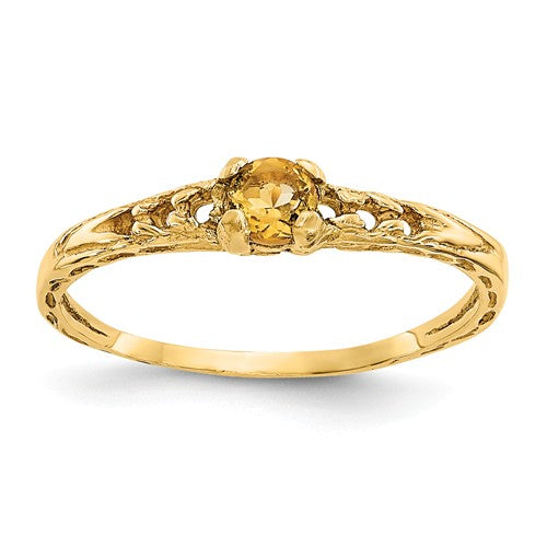 14K Madi K ~ November / Citrine Baby Ring ~ Polished Yellow Gold