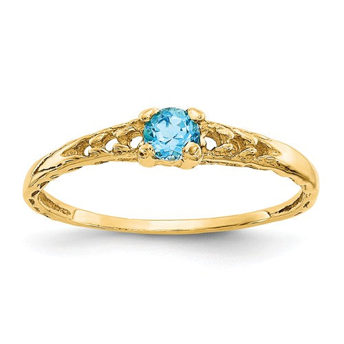 14K Madi K ~ December / Blue Topaz Baby Ring ~ Polished Yellow Gold
