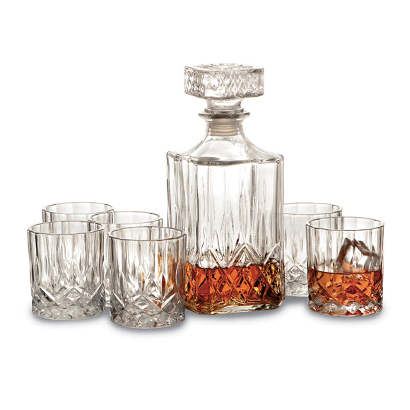 7 Piece Crystal Whiskey Set, 6-8 Oz Glasses And 1-32 Oz Decanter