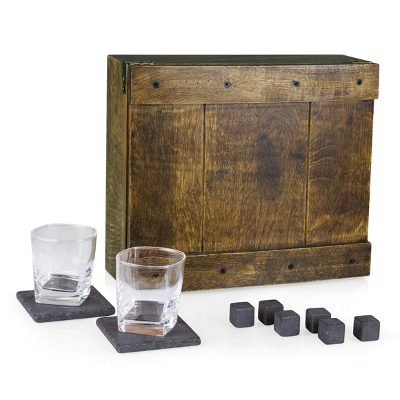 Oak Whiskey Box Gift Set | Includes 2 Glasses, 2 Coasters & 6 Whiskey Stones