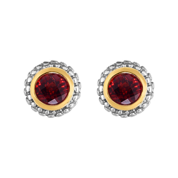 PHILLIP GAVRIEL: Birthstone Stud Earrings  | 18K Yellow Gold & Sterling Silver