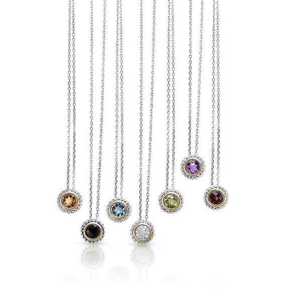 PHILLIP GAVRIEL: Birthstone Jewelry Pendant Necklace | 925 Sterling Silver & 18K Yellow Gold