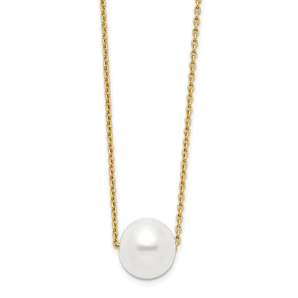 Buy 14K Gold 10-11mm White Round Freshwater Cultured Pearl 17 inch Necklace | Shop Baxley Jewelry only at Avonlea Jewelry.
