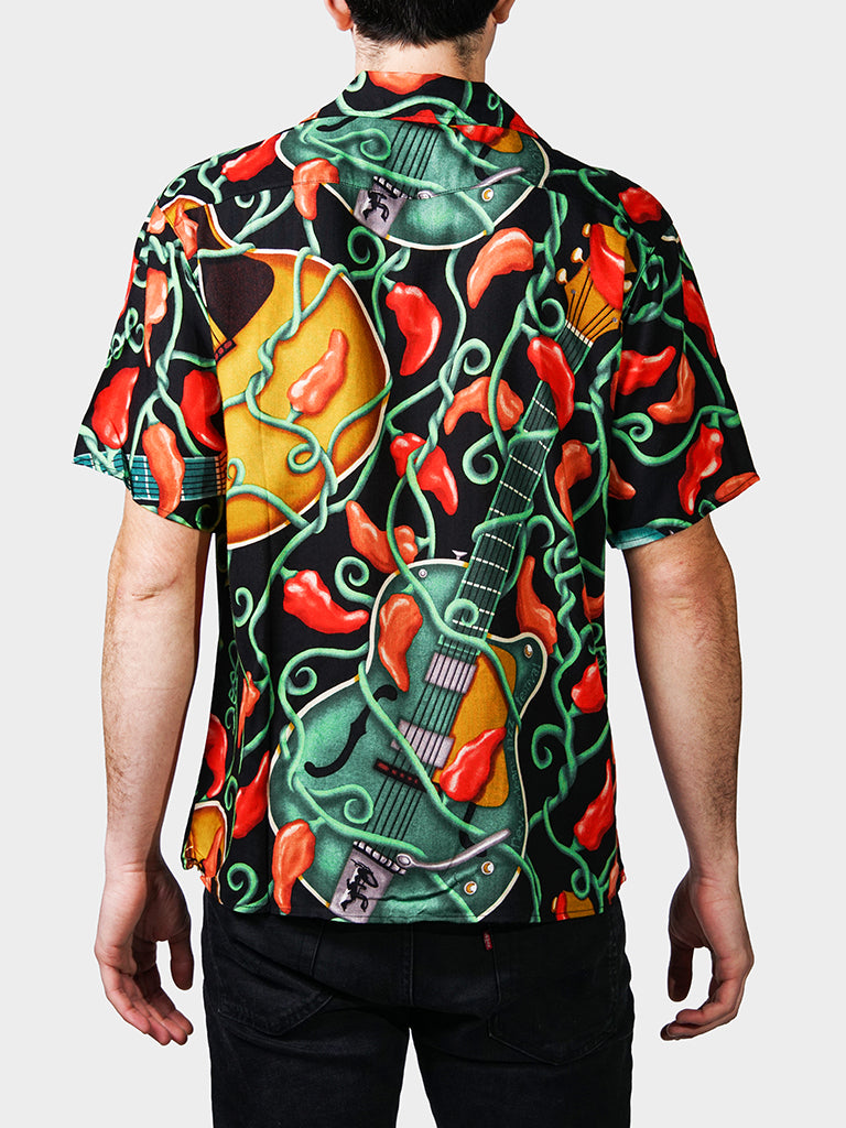 Guitar BayouWear Hawaiian Shirt Mens Back
