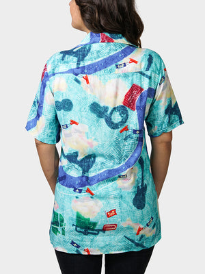 Tricentennial Map BayouWear Hawaiian Shirt Womens Back