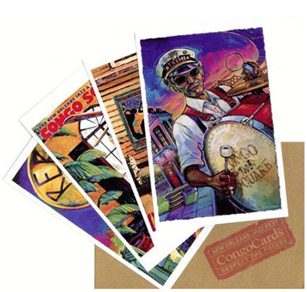 Congo Square PosterCard Set showing four cards with envelope