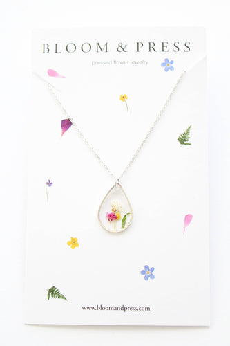 Bloom & Press- Pink & Yellow Flower Necklace