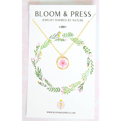 Bloom & Press- Mini Pink Flower Necklace