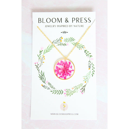 Bloom & Press- Pink Queen Anne's Lace Necklace