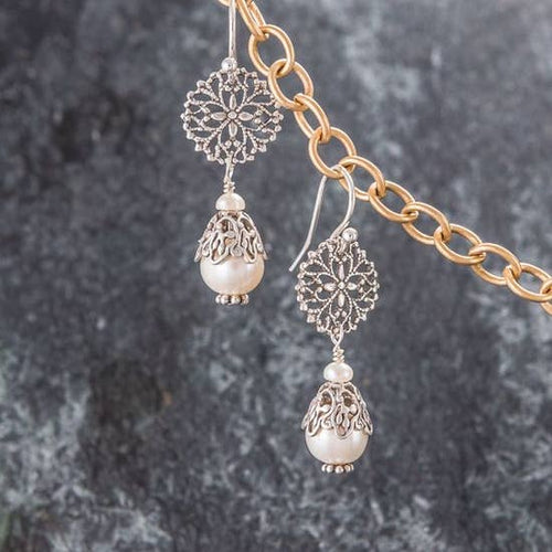 Felicity Jewelry Designs- Freshwater Pearl & SIlver Filigree Earrings