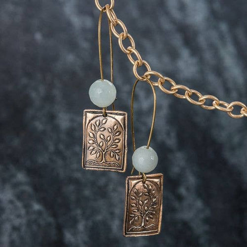 Felicity Jewelry Designs- Tree of Life Bronze and Amazonite Earrings