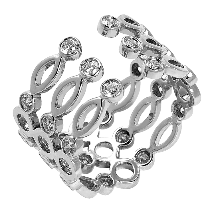 Cuff Ring White Gold
