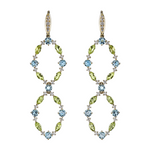 Aqua Oval Double Hoop Earrings