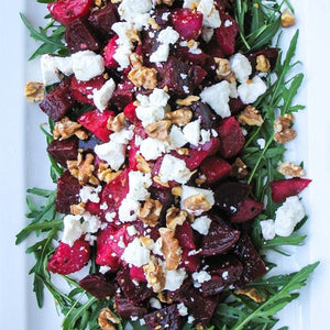 Beetroot, feta & candied walnut salad