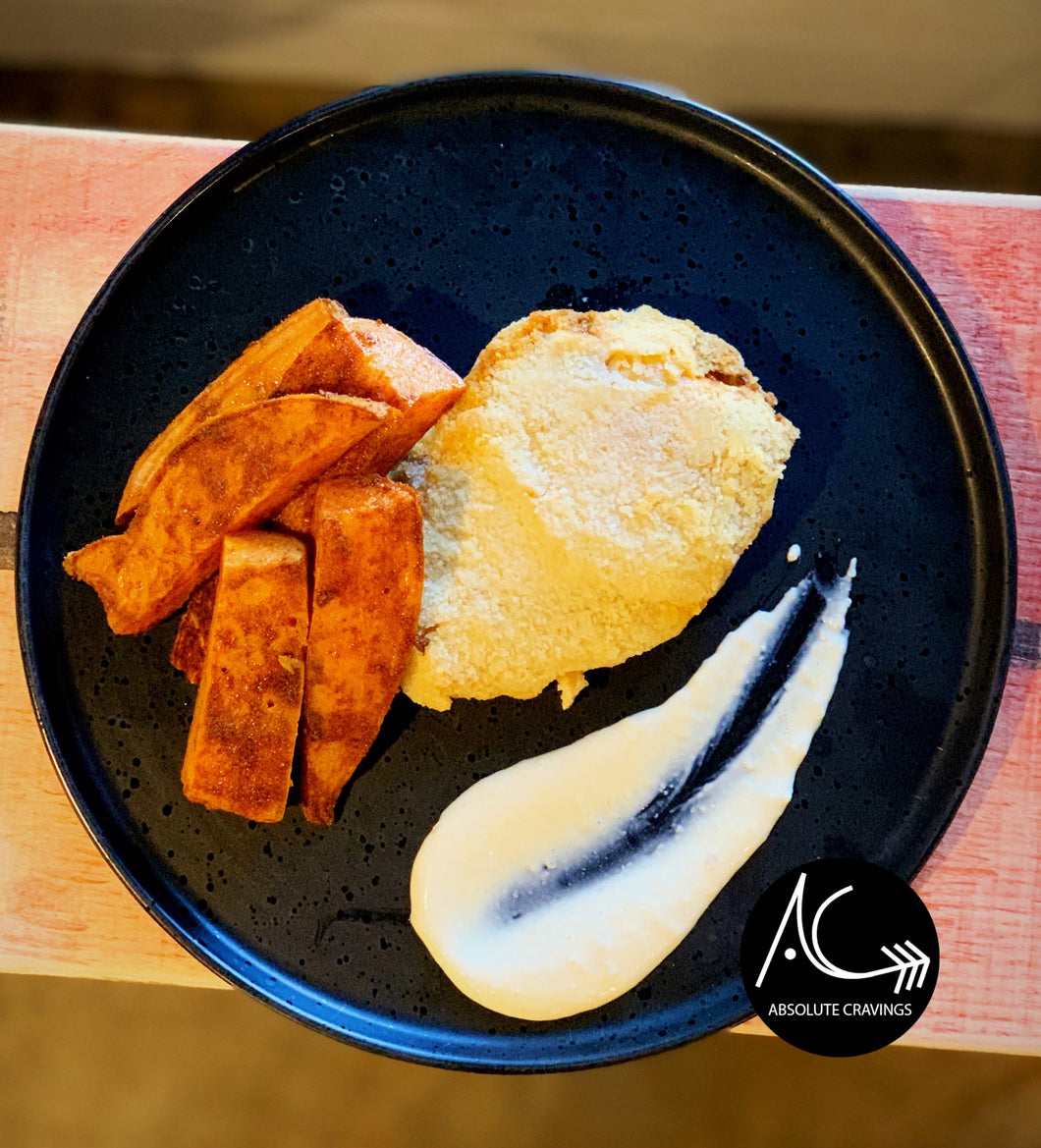 PALEO - Schnitzel, sweet potato wedges & aioli