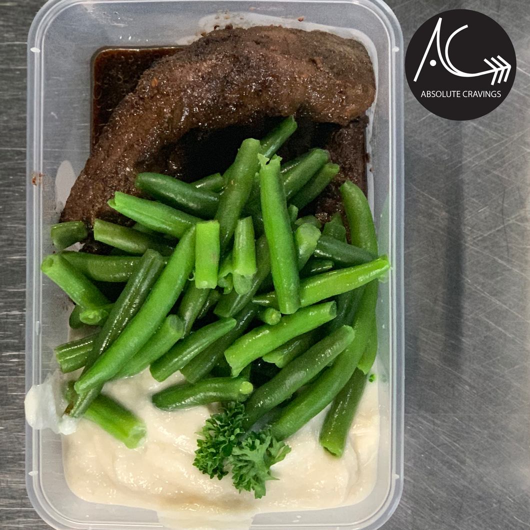 absolutecravings,Steak bites, caulimash & beans,Fitness