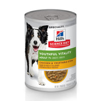 Hills Science Diet Alimento Perros Youthful Vitallity 7+ Lata 370 gr Estofado