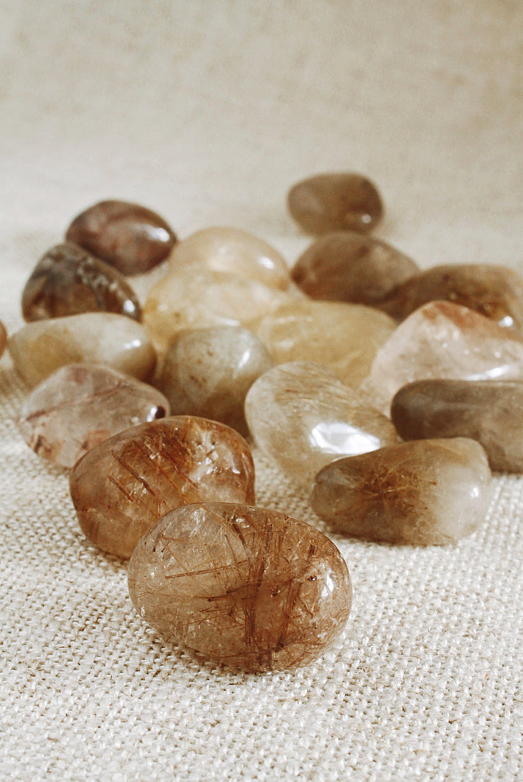 Rutilated Quartz tumbled stone