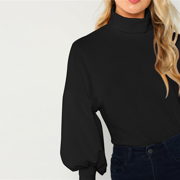 Puff Sleeve Turtle Neck