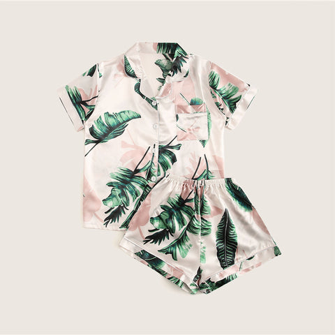 Tropical Satin-Tee Pj Set