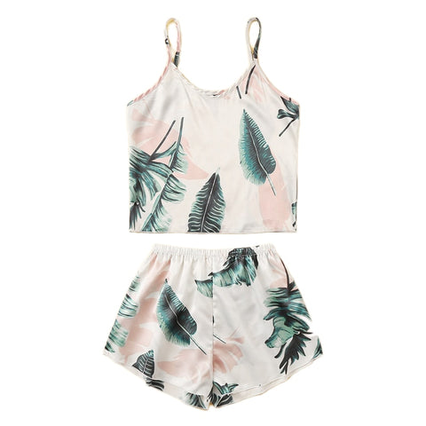 Tropical Satin Tank Pj Set