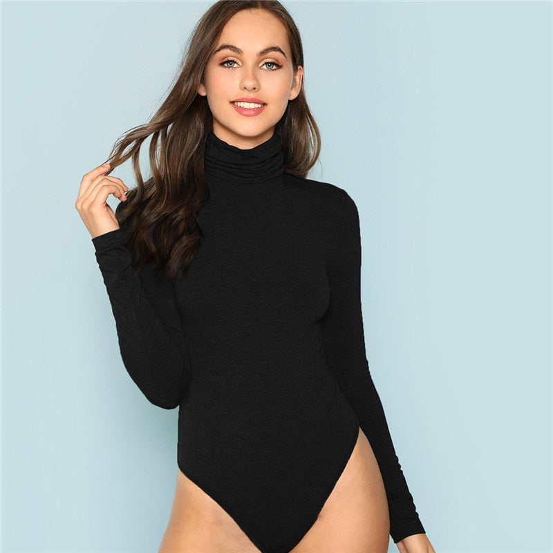 Turtle Neck Knit Bodysuit - Black