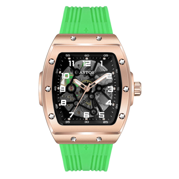 Millionaire Rosé Gold Case and Dial - Green Strap