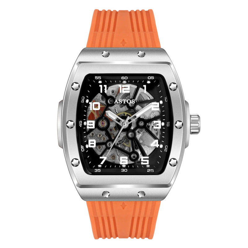 Millionaire Silver Case and Dial - Orange Strap
