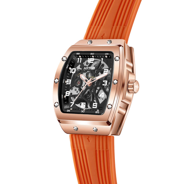 Millionaire Rosé Gold Case and Dial - Orange Strap