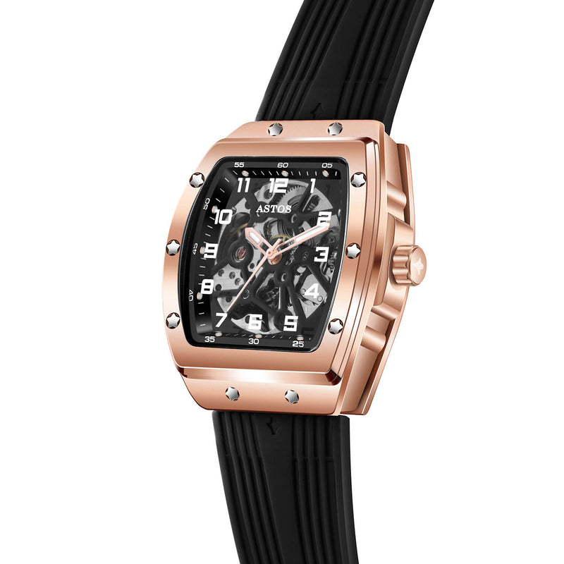 Millionaire Rosé Gold Case and Dial - Black Strap